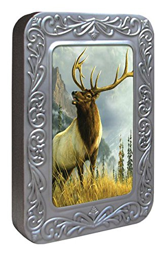 Tree-Free Greetings Noteables Notecards In Reusable Embossed Tin, 12 Card Assortment, Recycled, 4 x 6 Inches, High Country Elk, Multi Color (76046)