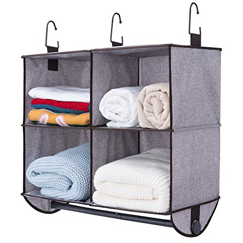 (StorageWorks 4 Section Hanging Closet Organizer with Metal Garment Rod, Polyester Canvas Closet Storage Organizer, Gray, 24