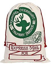 "Christmas Drawstring Bags Personalized Large Santa Sack 27.6"" x 19.7"" Cotton Santa Bag"