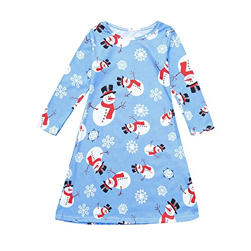 (Christmas Girl Dress,Fineser Fashion Mommy&Me Children Kids Girls Long Sleeve Snowman Print Dress Family Clothes 3-8T (Light Blue, 7-8 Years(120)))