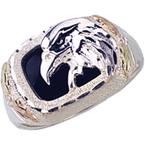 (Gorgeous! Black Hills Sterling-silver Men's Eagle Ring W/Black Onyx (13.5))