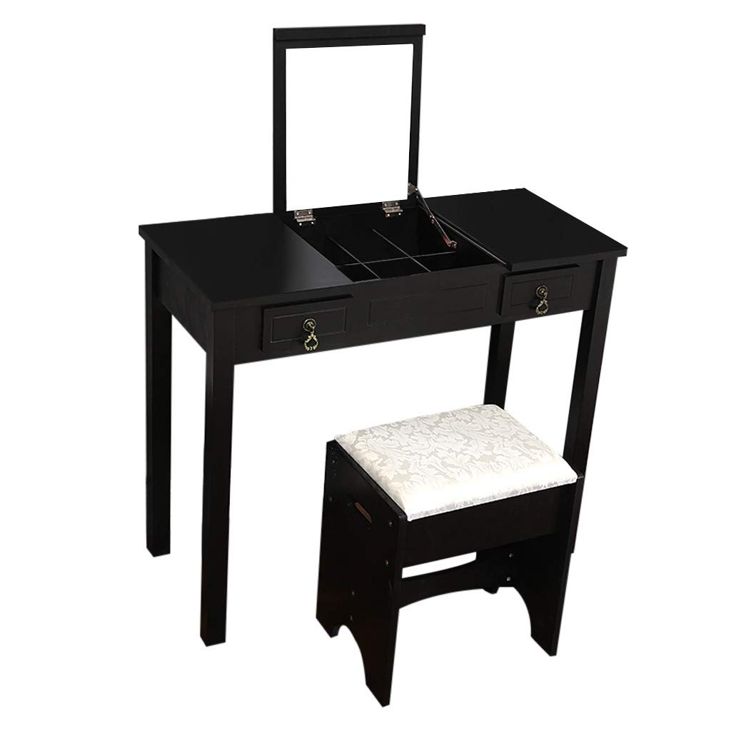 RDTIAN Vanity Set With Flip Top Mirror Makeup Dressing Table Writing Desk With 2 Drawer (Black) by RDTIAN