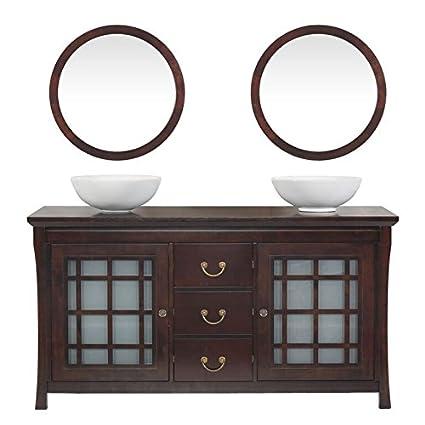MAYKKE Shoji 64u0026quot; Pacific Rim Double Bathroom Vanity Set In Vintage  Walnut, Wood
