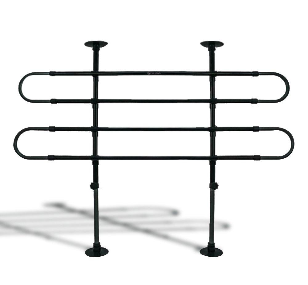 Zone Tech Universal Fit-Adjustable Sturdy-Heavy Duty- Portable -Sleek Shiny Black- Travel - Pet Safety Barrier by Zone Tech