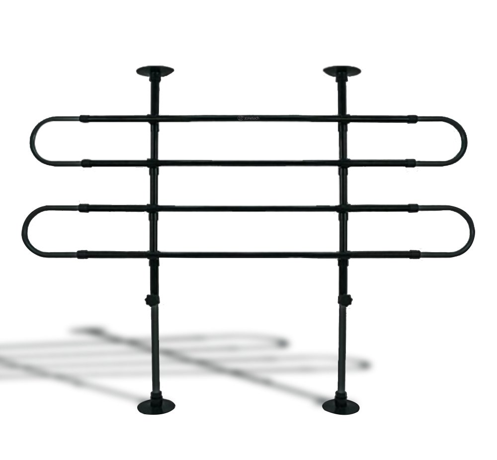 Zone Tech Universal Fit-Adjustable Sturdy-Heavy Duty- Portable -Sleek Shiny Black- Travel - Pet Safety Barrier