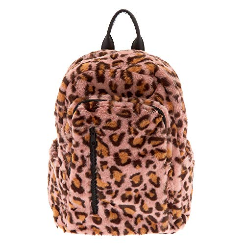 Claire's Women's Girl's Large Faux Fur Pink Leopard Animal Print Fuzzy Lightweight Student Backpack Rucksack Bookbag with Zippers - Cute Elementary School Bag for Kids ()