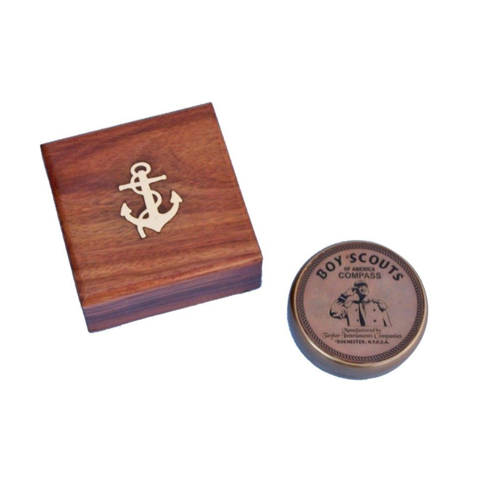 Solid Brass Boy Scout Compass w/ Rosewood Box 3