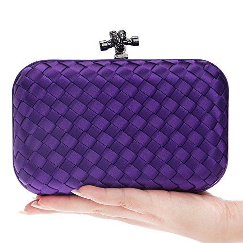 Hand Woven Girls Clutch Hardcase Bags made Purse Flada Purple Evening Party qSBxn5w7