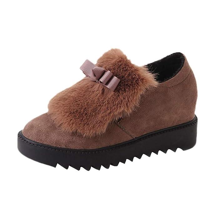 ❤ Botas Cortas Mujer de Invierno Planas, Invierno de la Mujer Antideslizante Arco Plataforma Plana Invierno cálido Nieve Casual Zapatos Solos Absolute: ...