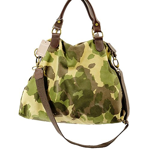 Pulicati Damensack aus Leder und Stoff Militär Farbe