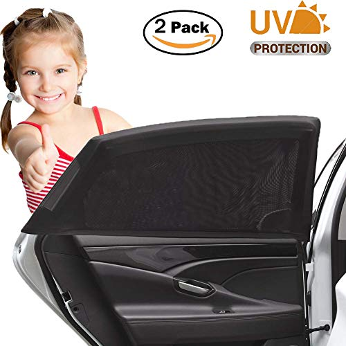 Car Window Shade for Baby, Breathable Mesh Car Sun Shade, Car Rear Window Sun Shade, 99% Uv Ray Protection, Protect Kids Pet from The Sun, Universal Car Curtains Fit for Cars, Trucks, Suvs (2 Pack)