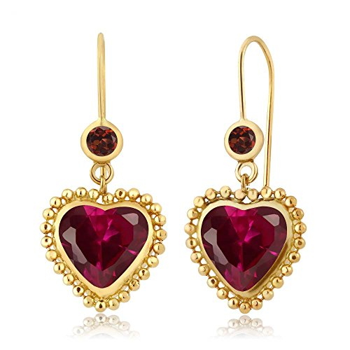 Gem Stone King 4.62 Ct Heart Shape Red Created Ruby Red Garnet 14K Yellow Gold Earrings