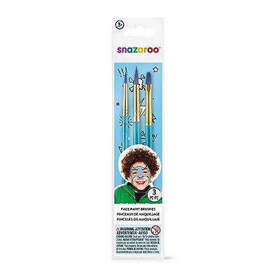 Snazaroo - Set de 3 pinceles de pintura facial, color azul: Juguetes y juegos