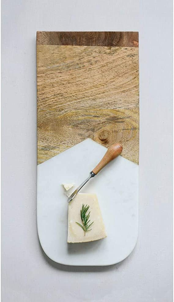 Creative Co Op Marble Mango Wood Cutting Canape Knife Cheese Board 1 Ea Brown Home Kitchen