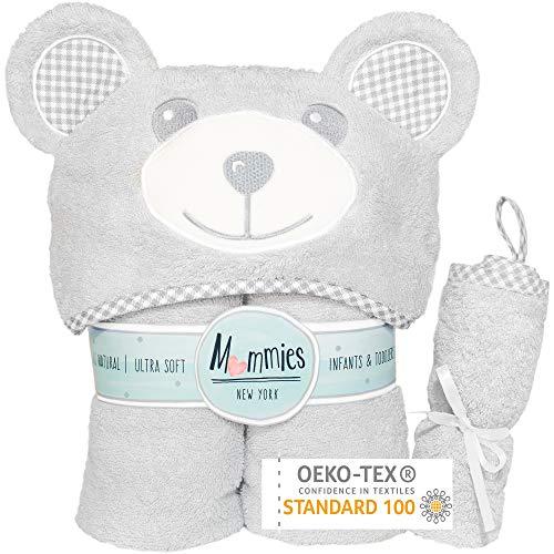 Premium Baby Towel with Hood and Washcloth Gift Set – Organic Bamboo Baby Bath Towel – Cute Teddy Bear Ears – Soft…