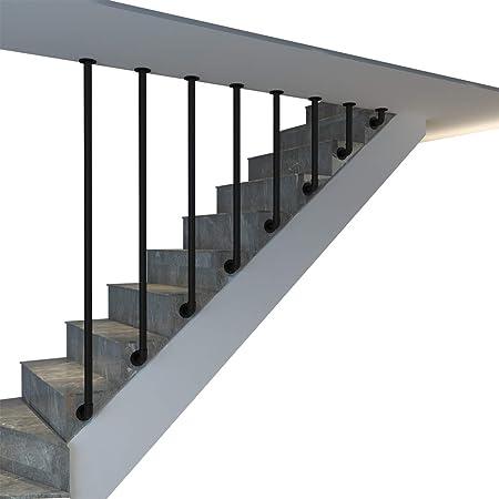 YUDE Barandilla de la escalera Tipo L de Hierro Forjado, barandilla de Tubo galvanizado Redondo Negro (envíenos Datos de tamaño específico después de la Compra): Amazon.es: Hogar