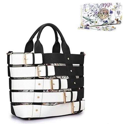 MMK Collection Satchel &Briefcase set~Satchel handbags with Wristlet wallet ~Designer Purse for Women ~ Perfect Women Purse and wrist wallet~ Beautiful Designer Handbag Set (09-6665-BK 168)