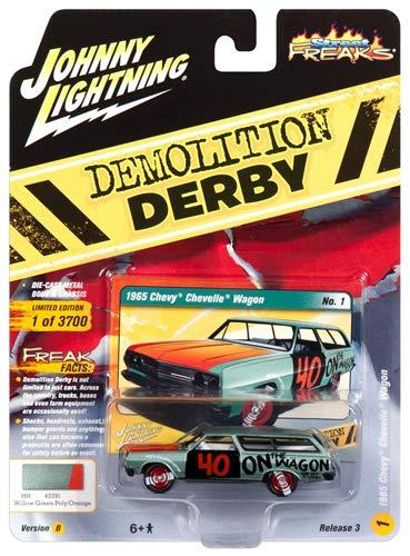 Johnny Lightning JLCP7119-24 1965 Chevrolet Chevelle Wagon #40 Willow Green Metallic Demolition Derby Limited Edition to 3, 700Piece Worldwide 1/64 Diecast Model Car JLSF 009/ JLCP7119, Multi