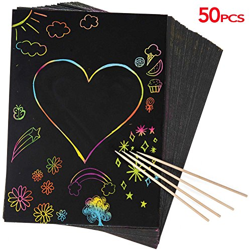 50 Piece Rainbow Scratch Paper - 4 Wooden Styluses Included - Create Rainbow Scratch Art With This Jumbo Craft Pack