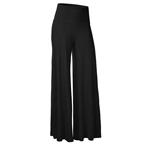 ZKOO Mujeres Ancho Pierna Palazzo Pantalones Cintura Elástica Holgados Flojos Suave Casual Verano