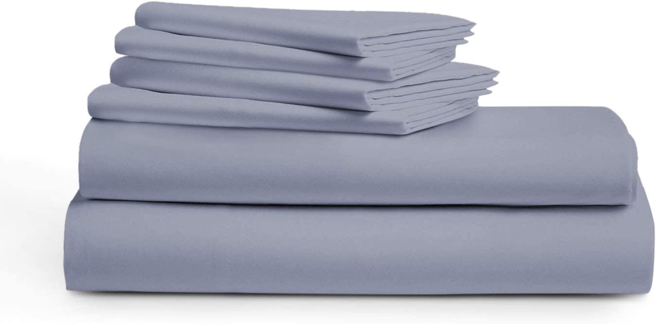 "True Luxury 1000 Thread Count Sheet Set 100% Long Staple Egyptian Cotton Luxurious Hotel Collection 4 Pcs Marrow Hem (1Flat Sheet 1Fitted Sheet &2 Pillowcases) 18"" Deep Pockets(Dark Grey,King)"
