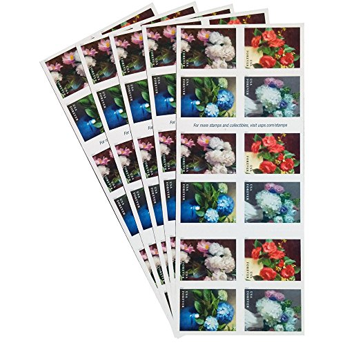 18th Century Bouquet - Flowers from the Garden 5 Books of 20 USPS First Class Postage Stamps American Celebrate Beauty
