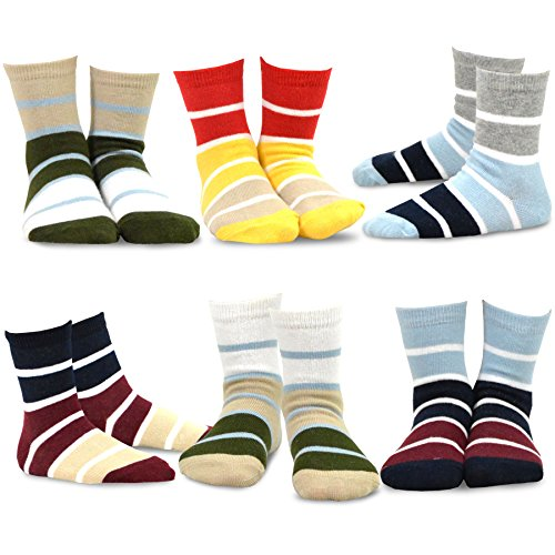 ic Sports Cotton Crew Socks 6 Pair Pack (18-24M, Rugby Stripe) (19 Rugby)