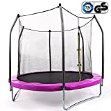 Zafuar Trampoline for Kids, Exercise Trampoline with Safety Enclosure Net and Basketball for Toddler, 8-Feet(Pink)