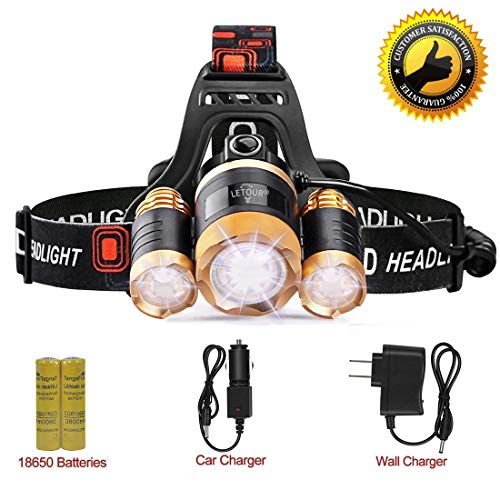 LETOUR Headlight, Brightest 6000 Lumen CREE LED Work Headlamp,18650 Rechargeable Waterproof Flashlight with Zoomable Head Light,Bright Head Lights for Camping Running Hiking by LETOUR (Image #7)