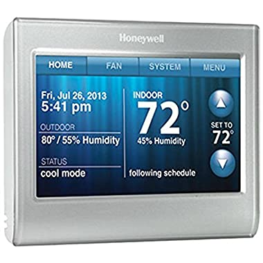 Honeywell RTH9580WF1005/W1 Wi-Fi Smart Touchscreen Thermostat, Silver, Works with Alexa (no hub required)
