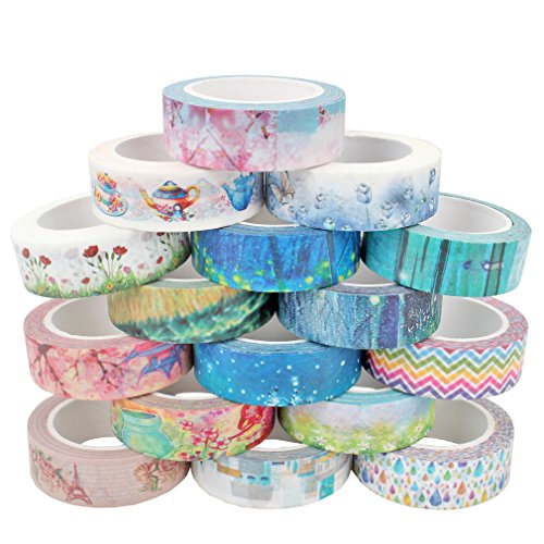 Amariver Washi Tape Set, 16 Rolls Decorative Adhesive Washi Masking Paper Tape for DIY Crafts, Planners, Festival Gift Wrapping, Scrapbooking, Office Party School Supplies, 32.8 Feet Long
