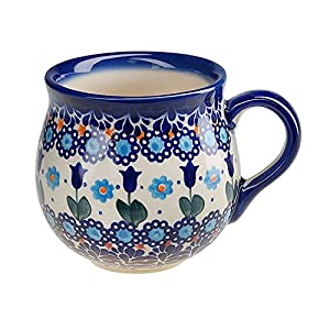 BCV Classic Boleslawiec, Polish Pottery Hand Painted Ceramic Mug, Barrel (300, U-006)
