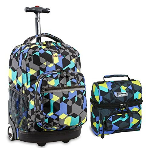 J World Combo Rolling Backpack & Lunch Bag Back to School Bundle Set Sunrise / Corey, Cubes -