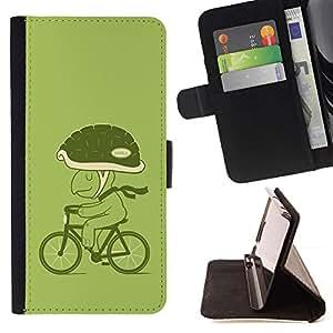 Momo Phone Case / Flip Funda de Cuero Case Cover - Bicicleta Verde Estilo de vida Tortuga Eco Arte Casco - Samsung Galaxy Note 5 5th N9200