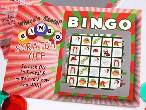 Santa Bingo クリスマススクラッチオフゲームカード 子供または大人用 ホリデーパーティーの記念品 26枚のカード (ビンゴなし24枚、ビンゴ2枚)