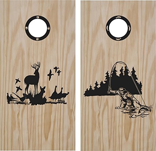 Fishing and Hunting Turkey Cornhole Board Decals Wrap Stickers Bean Bag Toss With Rings