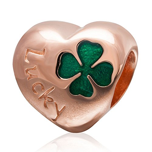 (Lucky Clover Charm 925 Sterling Silver Plated Rose Gold Heart love Charm fit for DIY Charms Bracelets)