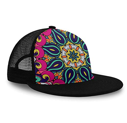 Ethnic Tribal Mandala Pattern Baseball Cap Sun Hat for Boys and Girls, Fitted Snapback Hat Tennis Cap Runner Cap, Lightweight Fast Dry Hip-Hop Dad Hat Trucker -