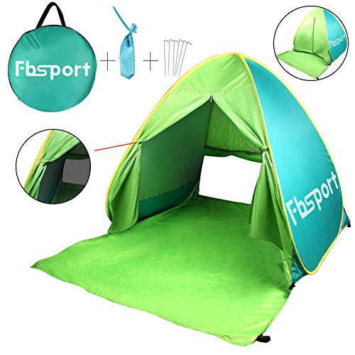 FBSPORT Portable Lightweight Beach Tent,Automatic Pop Up Sun Shelter Umbrella,Outdoor Cabana Beach Shade with UPF 50+ Sun Protection (green) - Baby Umbrella