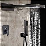 Votamuta Modern Oil Rubbed Bronze Square Rain Shower Head Faucet Valve Mixer Tap Waterfall & Rain Shower Spayer Wall Mounted