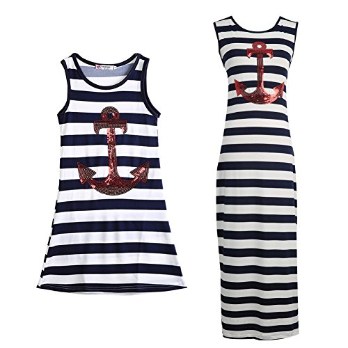 Anchor Apparel - Forart Family Matching Mother-Daughter Striped Anchor Dress Outfits Beach Dress