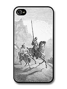 Don Quixote Sancho Panza Old Book Illustration Classic Literature Vintage Black and White carcasa de iPhone 4 4S