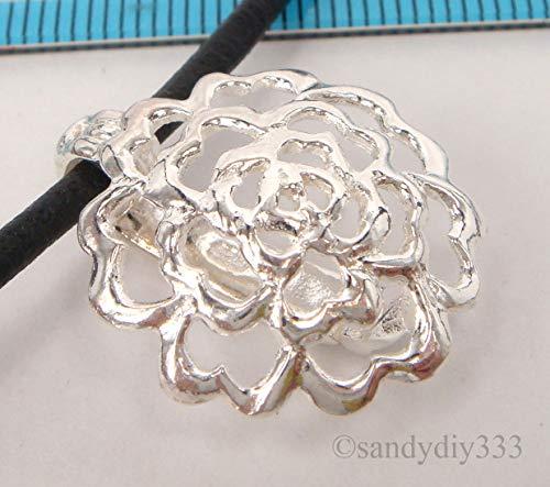 FidgetFidget 1x Sterling Silver Heart Flower Changeable Donut Holder Pendant Clasp 20mm #2215