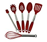Stainless Steel and Silicone Non-Stick 5-Piece Kitchen Utensil Cooking Set ...
