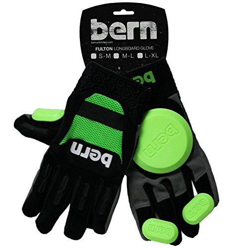 BERN Longboard Slide Gloves Fulton Green M/L (Pair, Includes Pucks)