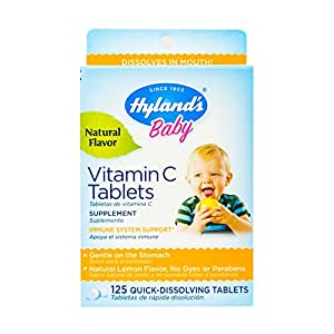 Hyland's Baby Vitamin C Tablets, Dietary Supplement with Natural Lemon Flavored, 125 Count