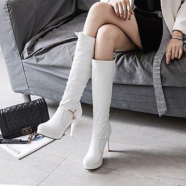 GLL 10 Talon Automne 12 cm Habillé Décontracté à Similicuir Confort white Hiver Rose Strass amp;xuezi Bottes Aiguille Noir Blanc Femme rqWrSZ