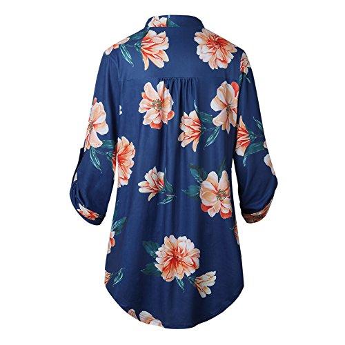 Juleya Cuello EN V Mujer Camiseta Blusa Casual Largo Camisa Floral Pintado Manga Larga T-Shirt Tops Impreso Verano Ropa de Calle Pullover Jersey Camisas S ...