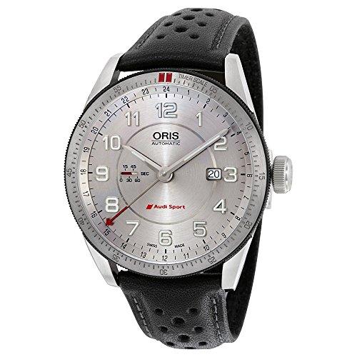 Oris Artix Audi Sport GMT Automatic Silver Dial Black Leather Mens Watch 747-7701-4461LS