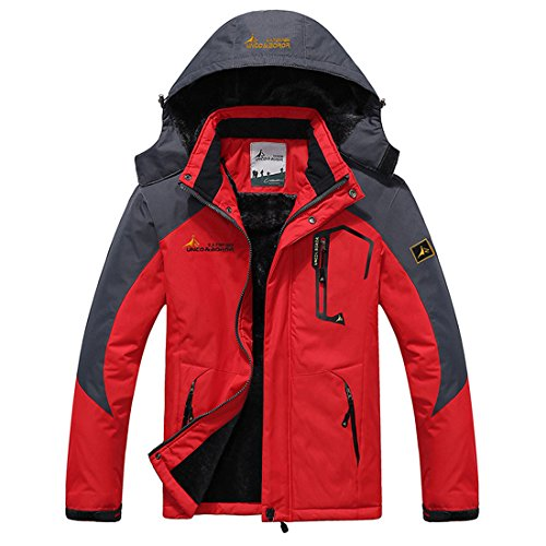 Mens Jackets Winter Parkas Waterproof Skiing MAGCOMSEN Hood with Thermal Mountain Windproof Red w765YqF